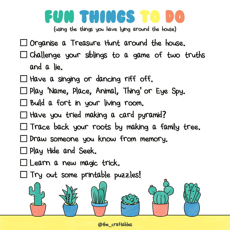 How to have fun at home without materials   Home activities with family   The Craftables
