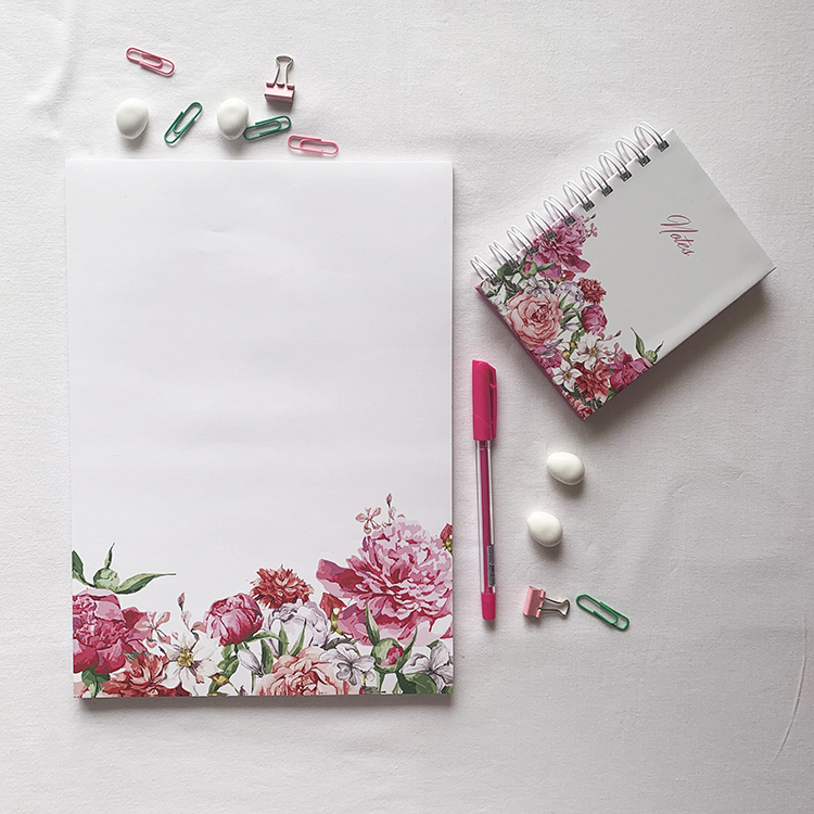 Bouquet Notebook and Notepad combo | Floral pretty stationery pieces | Shop online on The Craftables Site