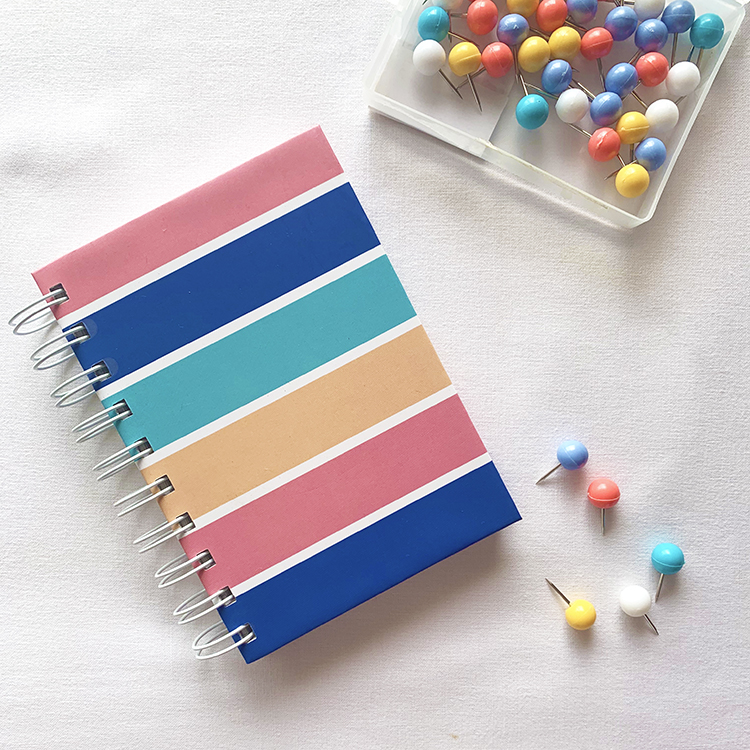 Bright and colourful stationery pieces | A6 stripes notebook | Minimal designs by The Craftables