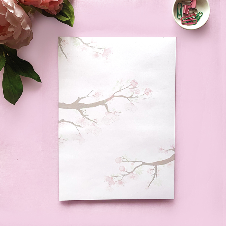 Cherry Blossom A4 Notepad with 50 tear off sheets | Japanese inspired design | The Craftables stationery