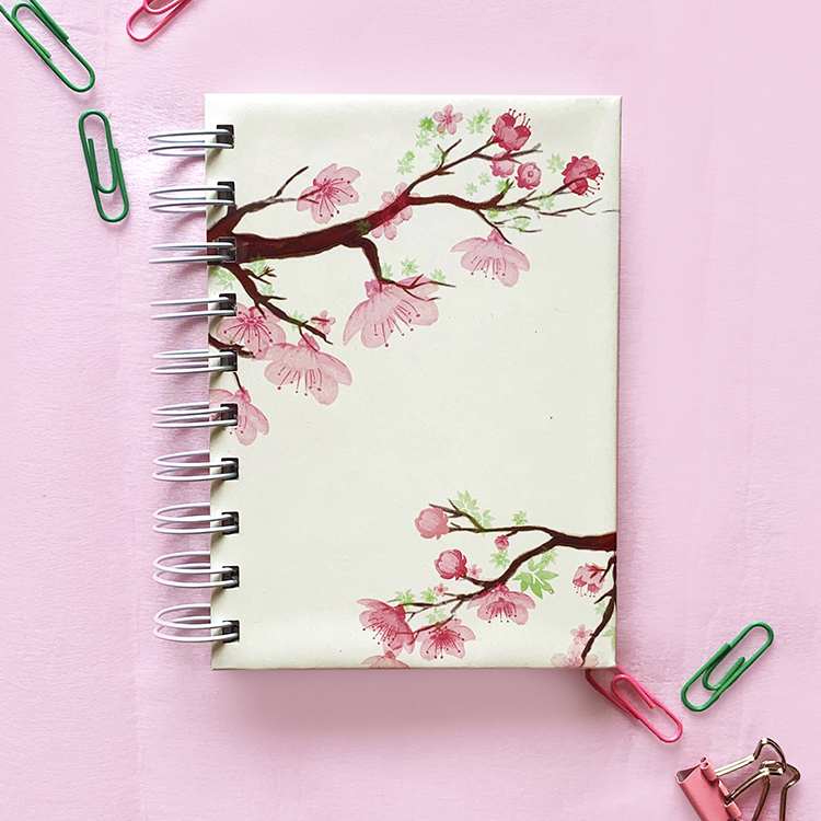 Cherry Blossom A6 notebook | plain or ruled pages | floral design notebooks | Stationery by The Craftables