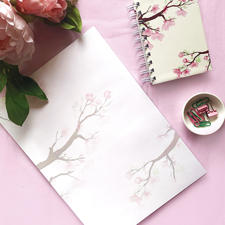 Cherry Blossom Stationery Combo | A6 Notebook with A4 notepad | The Craftables feminine designs