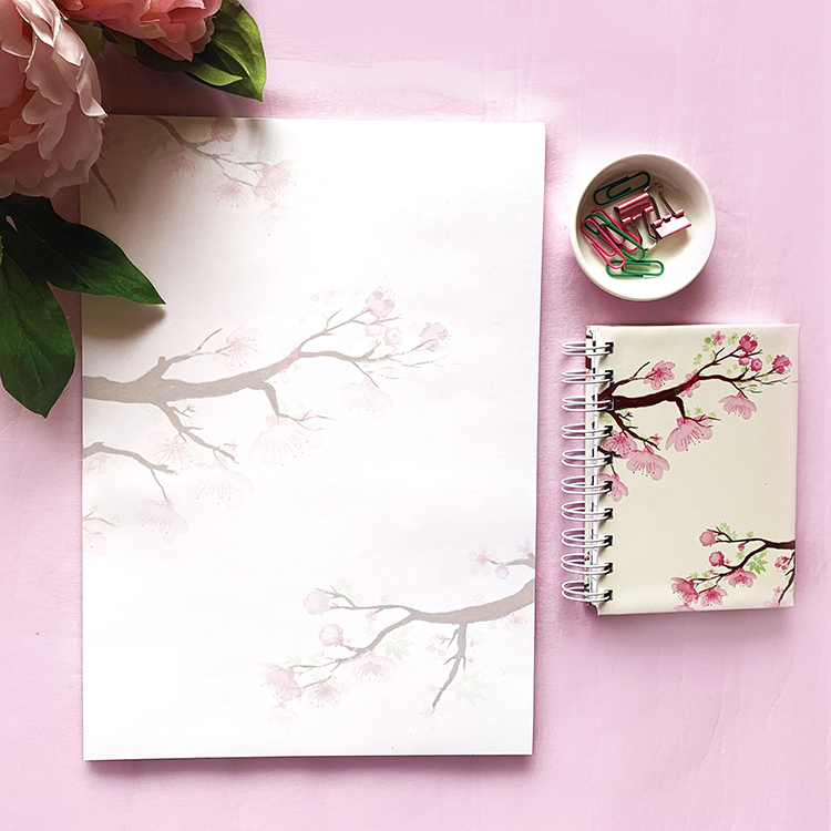 Cherry Blossom Stationery Combo | Pretty in pink stationery by The Craftables