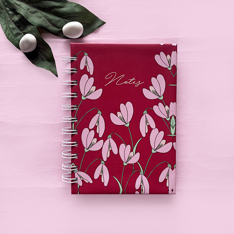 Customised Mini notebook with plain pages | Petal design | The Craftables