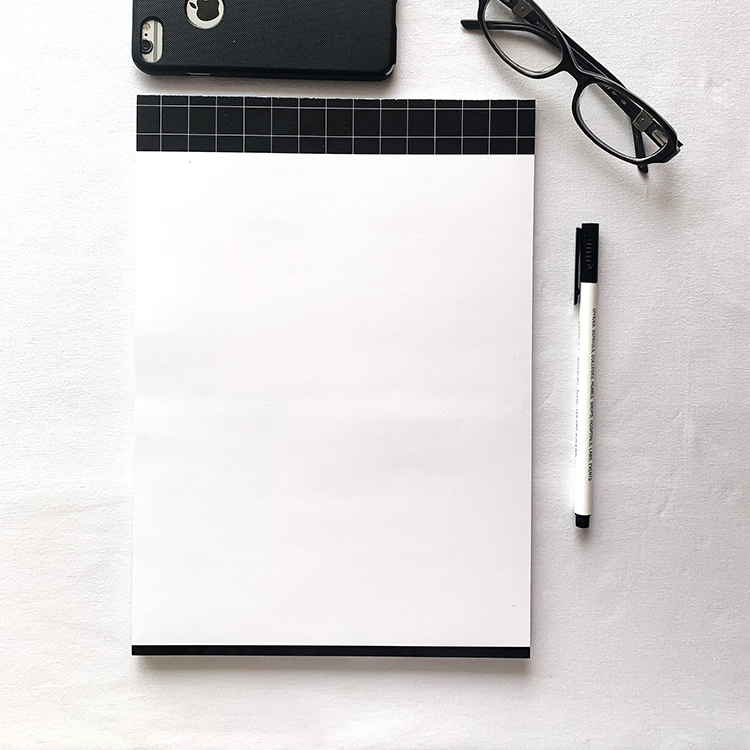 Griddy A4 notepad with tear off sheets | Minimal black and white design | The Craftables