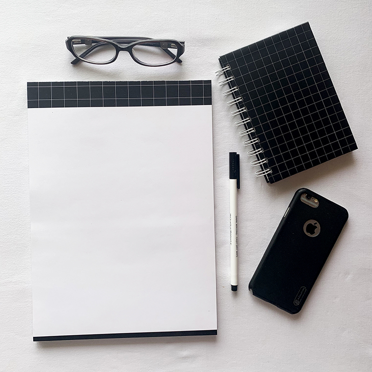 Griddy Stationery combo with A4 notepad and A6 notebook | Simple office stationery | The Craftables