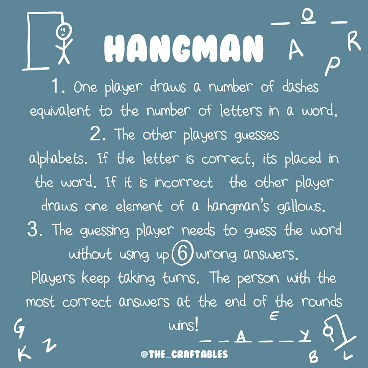 Hangman Game | 7 paper and pen game ideas | easy to play activities | No materials | The Craftables