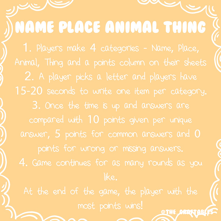 Name Place Animal Thing | Category games for all ages | The Craftables Games