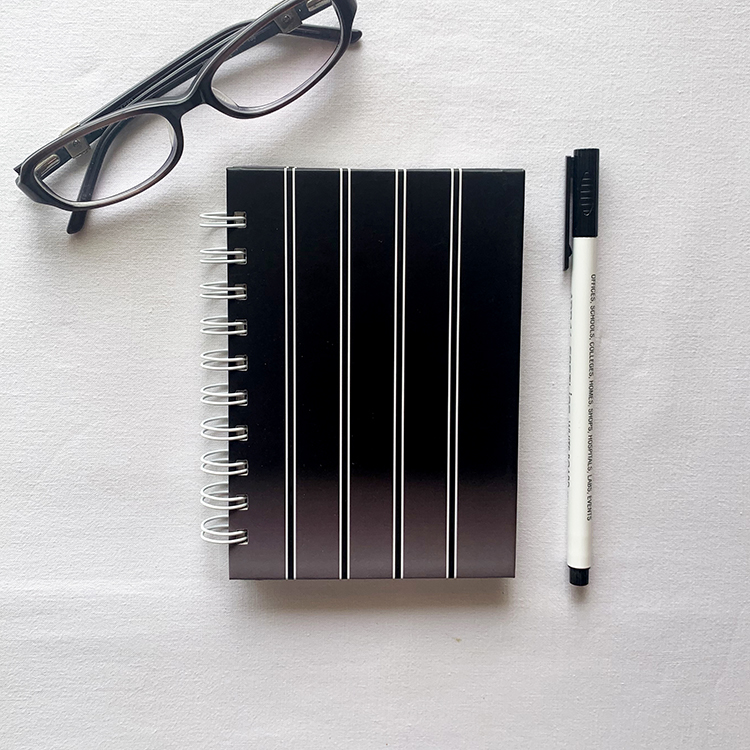 Ombre Tweed A6 Notebook | Black and white shaded design | Hard Cover notebooks | Simple designs by The Craftables