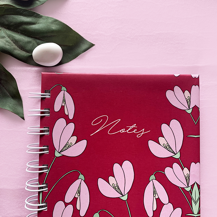 Petals Mini Notebook | A6 with plain pages | Doodling notebook with hard covers | The Craftables stationery