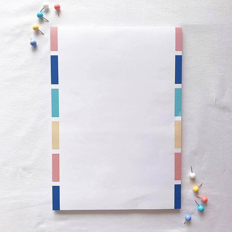 Simple A4 tear off notepad | Stripes colourful design | Stationery collection by The Craftables