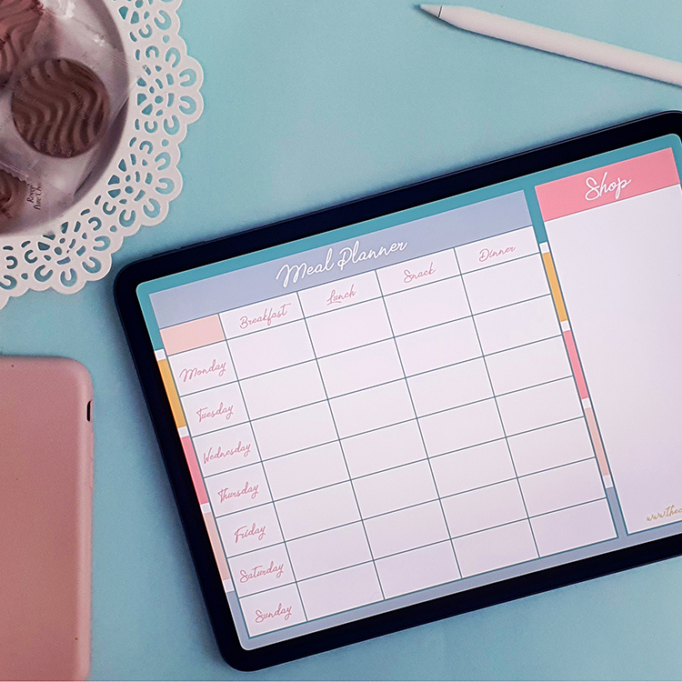 Weekly meal planner and shopping list   The Craftables digital products   Self Care bundle for adults