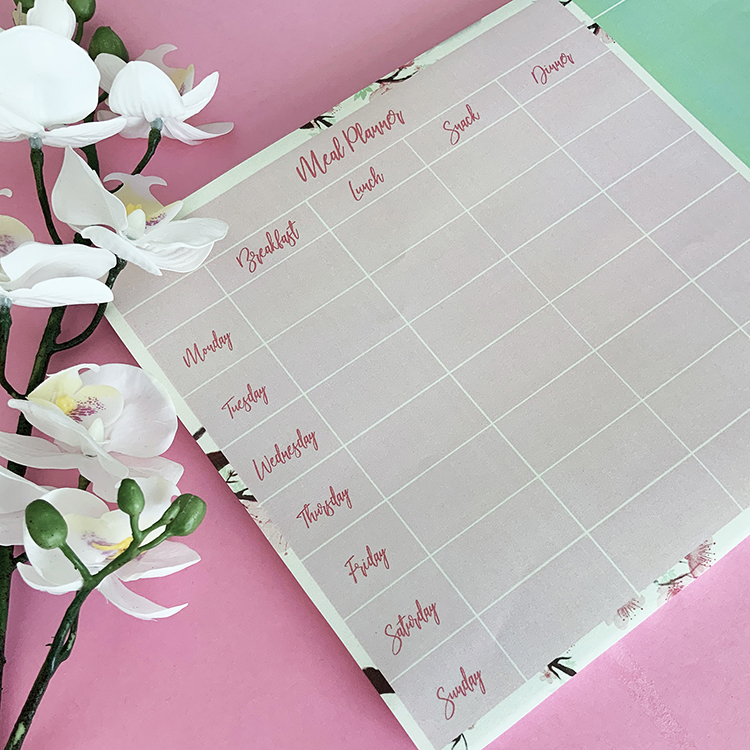 Cherry Blosssoms Meal Planner | A4 size with meals for the full week | 54 sheet planner by The Craftables