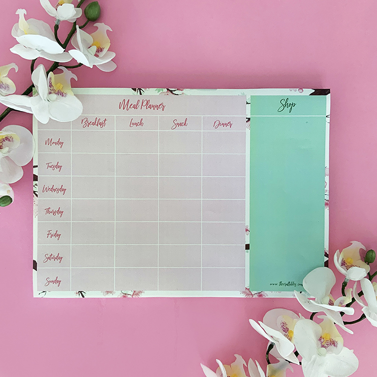 Cherry Blosssoms Meal Planner | Simple organisers for food | The Craftables