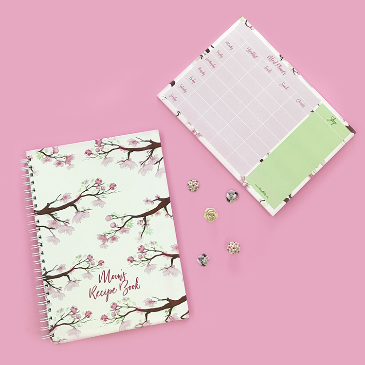 Cherry Blossoms Recipe Book and Meal Planner Combo | The Craftables stationery