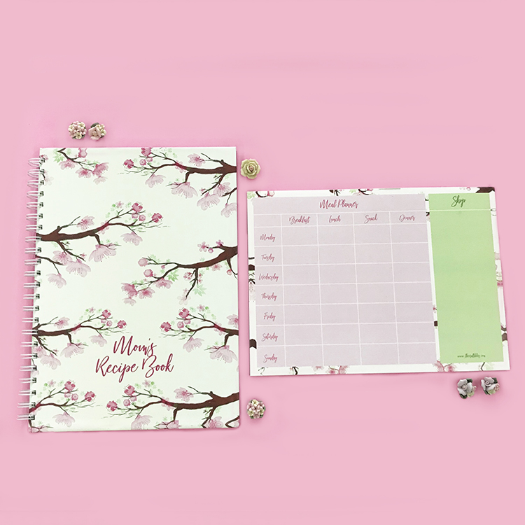 Personalised gift ideas for friends and family | Cherry Blossoms Recipe book and meal planner by The Craftables