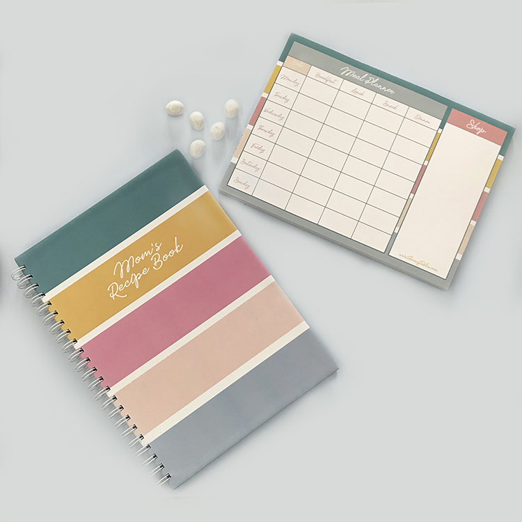 Stripes Recipe Book and Meal planner Gift Combo | The Craftables Stationery