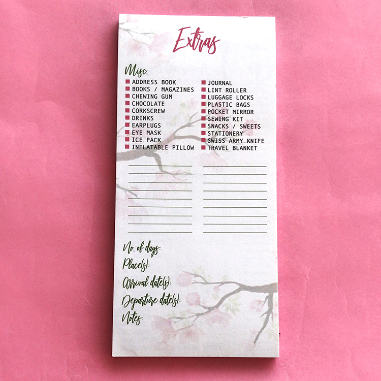 Travel Checklists Cherry Blossoms | Newlywed Gift Set by The Craftables