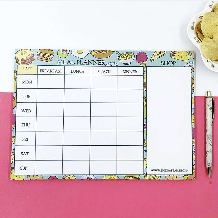 Foodie Meal Planner for families | The Craftables stationery customisation