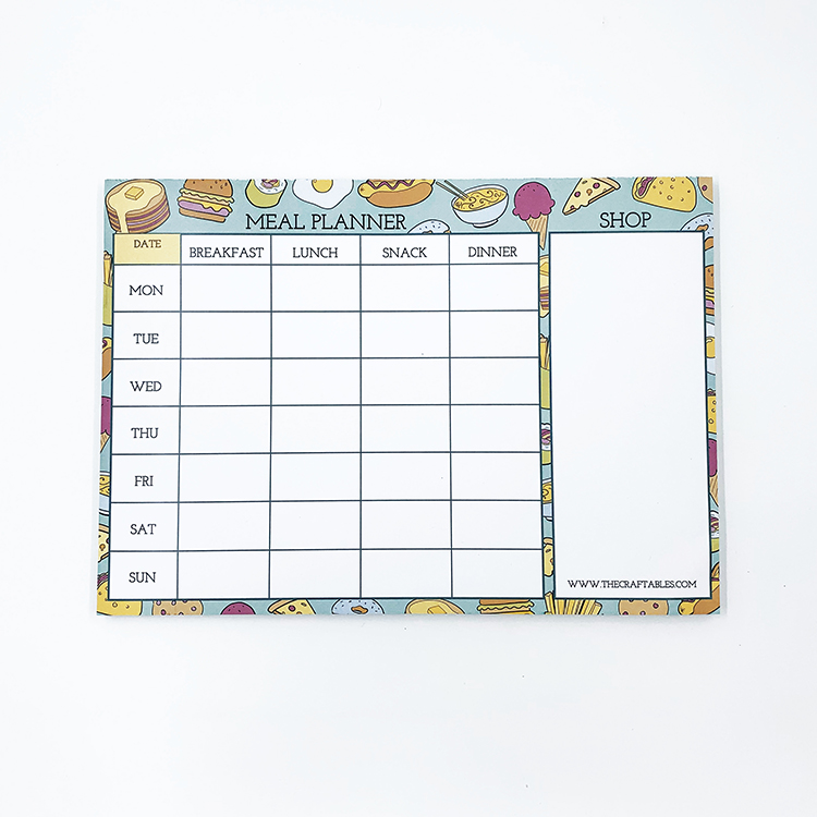 Foodie inspired meal planner | The Craftables custom stationery