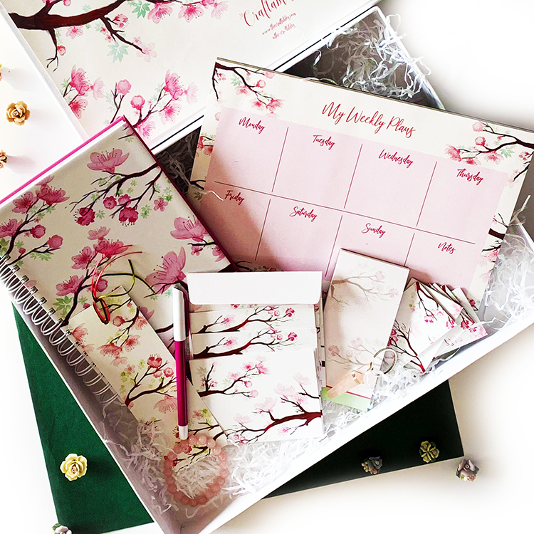 Cherry Blossom Stationery Giftset for women | The Craftables