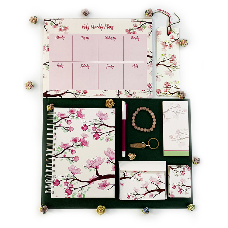 Cherry Blossom themed stationery set for girlfriend | The Craftables Gifting combos for Christmas