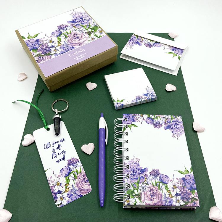 Mauve Bouquet Stationery Gift Set | Valentine's Gift Sets for girlfriend | The Craftables